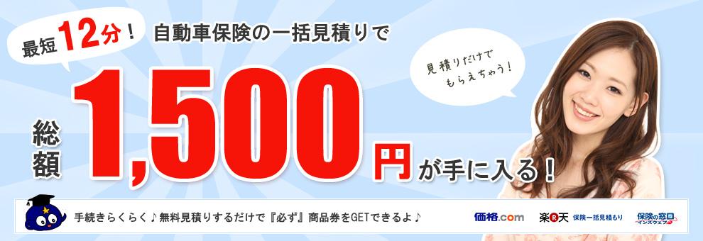 最短12分!自動車保険の一括見積もり比較で総額1500円が手に入る!